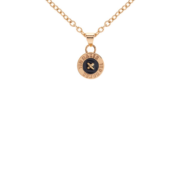 Ted Baker Womens Gold Tella Enamel Button Pendant Necklace main image