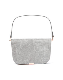 Ted Baker Womens Grey Melaney Exotic Metal Bar Shoulder Bag