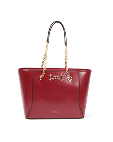 Ted Baker Womens Red Jalie Geometric Bow Leather Shopper