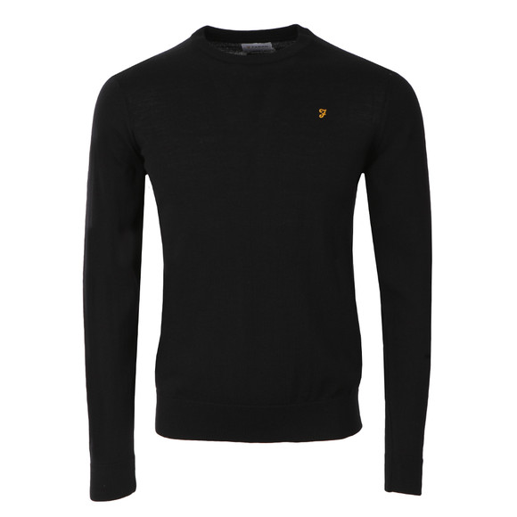 Farah Mens Black Mullen Wool Crew Jumper
