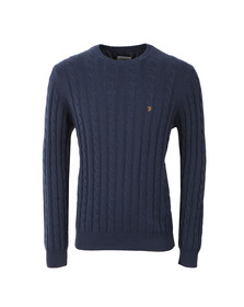 Farah Mens Blue Norfolk Cable Crew Jumper