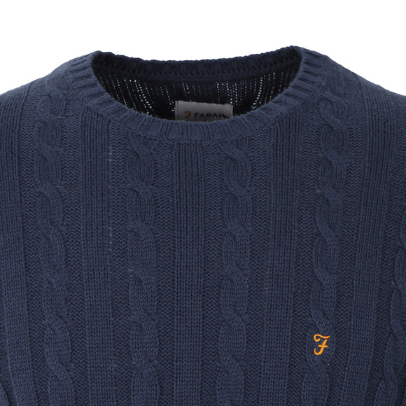 Farah Mens Blue Norfolk Cable Crew Jumper main image