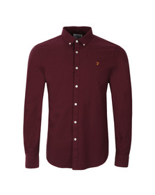 Farah Mens Red Brewer L/S Oxford Shirt