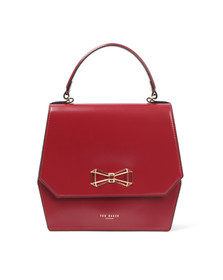 Ted Baker Womens Red Gerri Geometric Bow Top Handle Bag