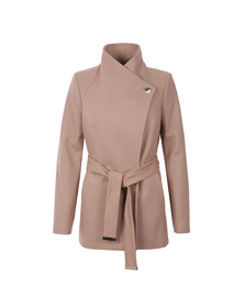 Ted Baker Womens Brown Elethea Short Wrap Collar Coat