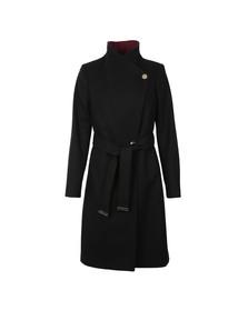 Ted Baker Womens Black Afina Contrast Lepel Long Wrap Coat
