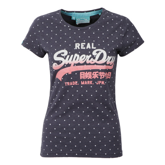 Superdry Womens Blue Vintage Logo Overdyed AOP Tee main image
