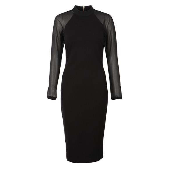 Ted Baker Womens Black Wrenti Fitted Long Sleeve Rib Dress main image