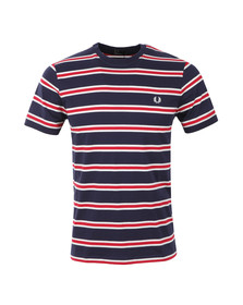 Fred Perry Mens Blue S/S Bomber Stripe Tee