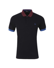 Fred Perry Mens Blue S/S Block Pique Polo