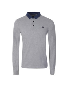 Fred Perry Mens Blue L/S Oxford Trim Polo