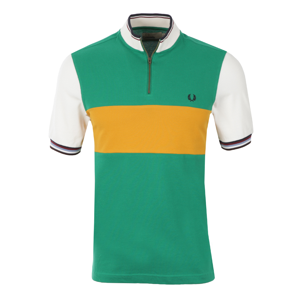 Fred Perry Bradley Wiggins Mens Green Colour Block Cycling Shirt main  image. Loading zoom 1d39c3d05