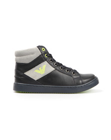 Armani Junior  Boys Blue Logo Hi Top Trainer