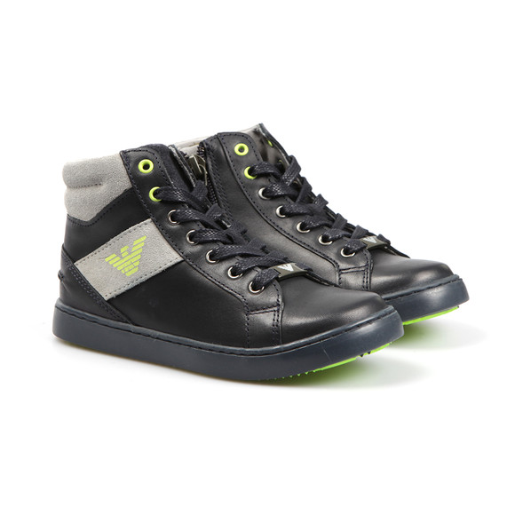 Armani Junior  Boys Blue Logo Hi Top Trainer main image