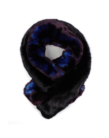 Ted Baker Womens Blue Double Stripe Faux Fur Scarf
