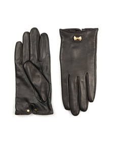 Ted Baker Womens Black Avia Metal Bow Leather Gloves