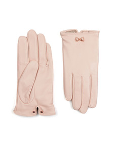 Ted Baker Womens Pink Avia Metal Bow Leather Gloves