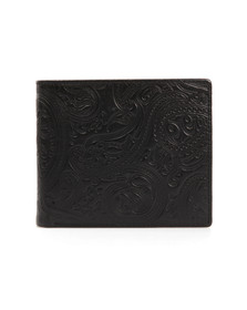 Pretty Green Mens Black Paisley Embossed Bifold Wallet