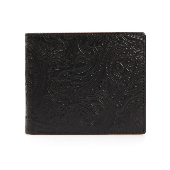 Pretty Green Mens Black Paisley Embossed Bifold Wallet main image