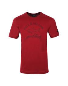Paul & Shark Mens Red Large Logo Crew T Shirt