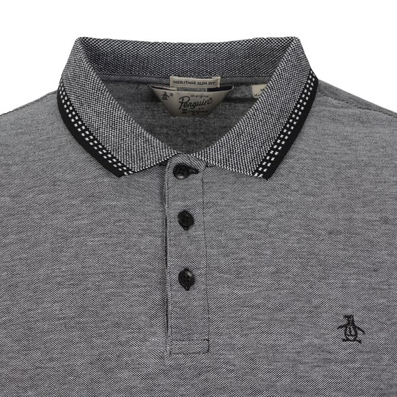 Original Penguin Mens Black Birdseye Pique Long Sleeve Polo Shirt main image