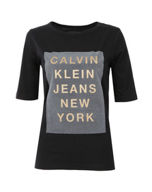 Calvin Klein Womens Black Crew Neck Straight Fit T Shirt