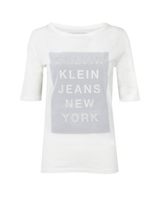Calvin Klein Womens White Crew Neck Straight Fit T Shirt