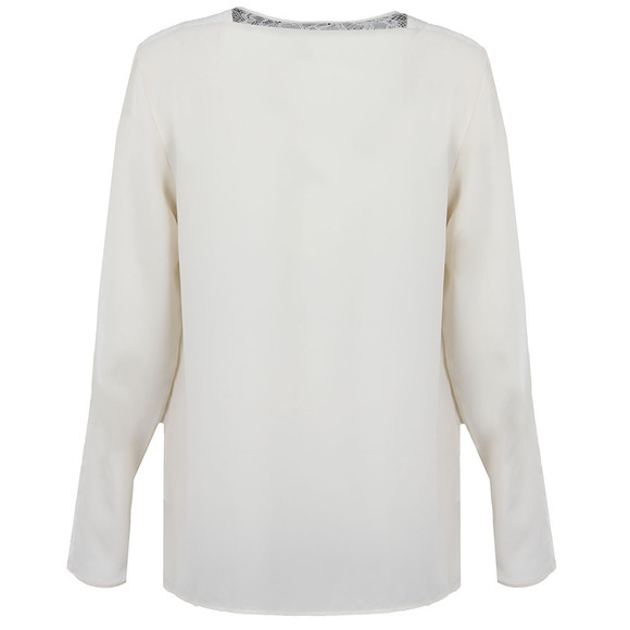 French Connection Womens Off-White Polly Plains Long Sleeve Roundneck Top main image