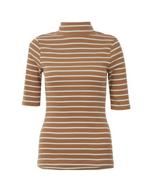 French Connection Womens Brown Duty Stripe Polo Neck