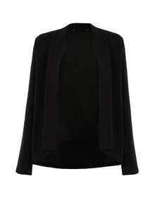French Connection Womens Black Josie Jersey Drape Front Jacket
