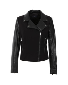 French Connection Womens Black Alana Mix Biker Jacket