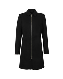 French Connection Womens Black Platform Felt Zip Coat