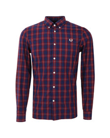 Fred Perry Mens Blue L/S Gingham Mix Shirt