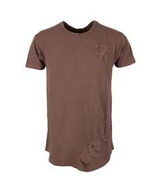 Sik Silk Mens Brown Destroyed Curved Hem T Shirt