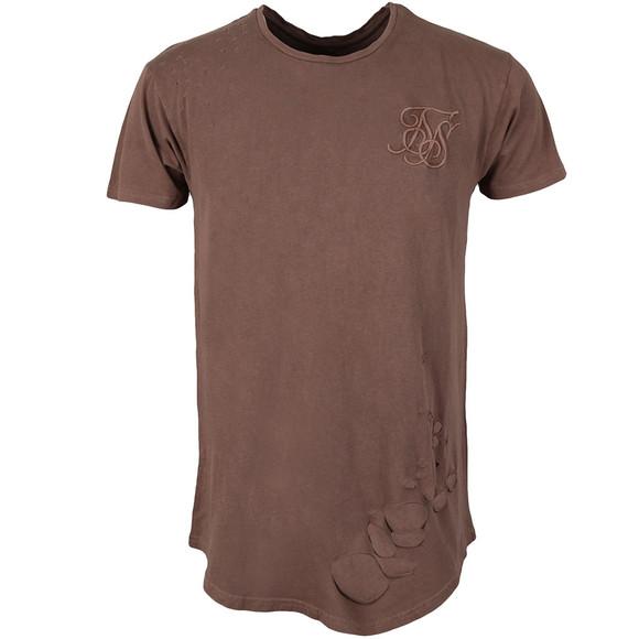 Sik Silk Mens Brown Destroyed Curved Hem T Shirt main image