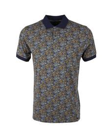 Pretty Green Mens Blue Stretford AOP Polo Shirt