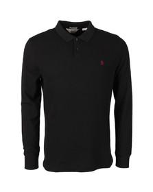Original Penguin Mens Black Waffle Front Winston Long Sleeve Polo Shirt