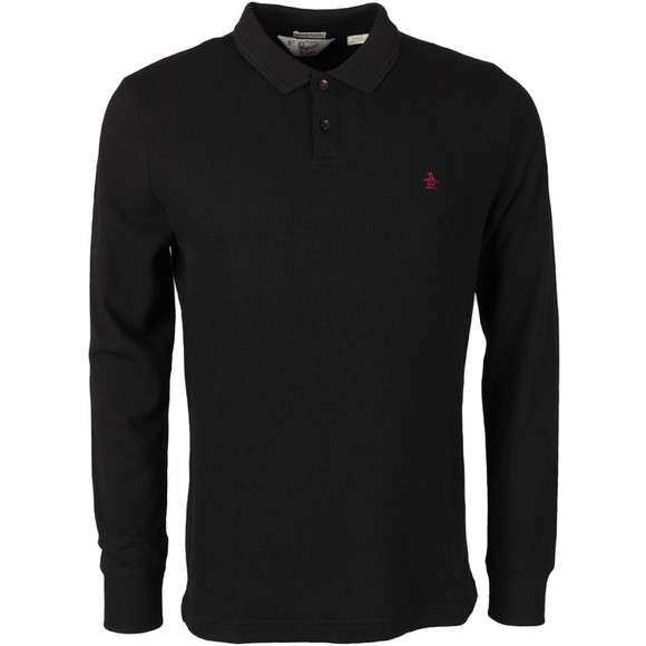 Original Penguin Mens Black Waffle Front Winston Long Sleeve Polo Shirt main image