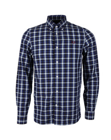 Fred Perry Mens Blue Herringbone Check Shirt