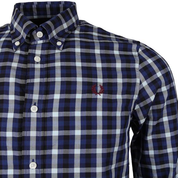 Fred Perry Mens Blue Herringbone Check Shirt main image