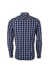 Fred Perry Mens Blue Herringbone Check Shirt