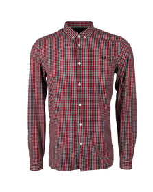 Fred Perry Mens Red L/S Bsketweave Shirt