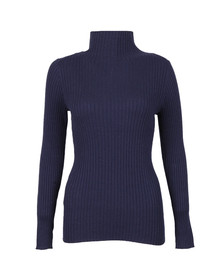 French Connection Womens Blue Bambino Rib Knit High Neck Jumper