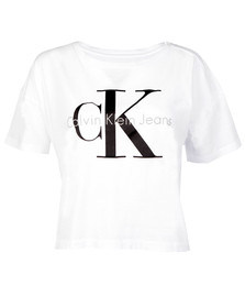 Calvin Klein Womens White Teca-13 CN Crop Tee