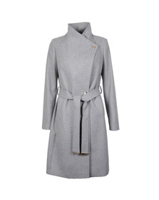 Ted Baker Womens Grey Aurore Long Wrap Collar Coat