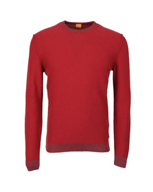 Boss Orange Mens Red Amindo Knitted Crew Jumper