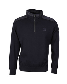Paul & Shark Mens Blue Knitted Half Zip Jumper