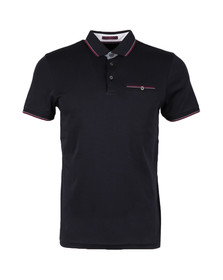 Ted Baker Mens Blue SS Flat Knit Collar Polo