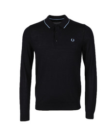Fred Perry Mens Blue Fine Merino Knitted Shirt