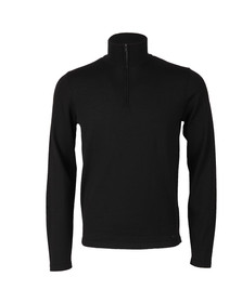 Hugo Mens Black San Gottardo Half Zip Knit